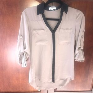 Express taupe and black blouse